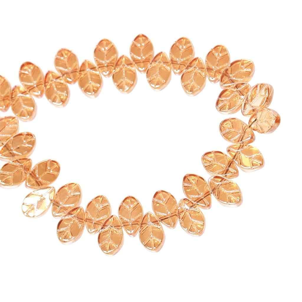 """Doreenbeadsガラス緩いビーズ葉オレンジabカラー透明約11ミリメートル(3/8 """") × 6ミリメートル(2/8"""")、穴:約0.8ミリメートル、4ピース"""