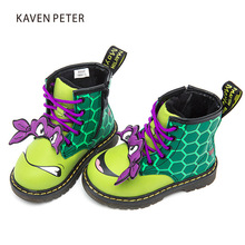 Children Shoes 2017 Fall winter Martin boots kids PU Leather Turtle print girls boots fashion boys ankle boots green black/white