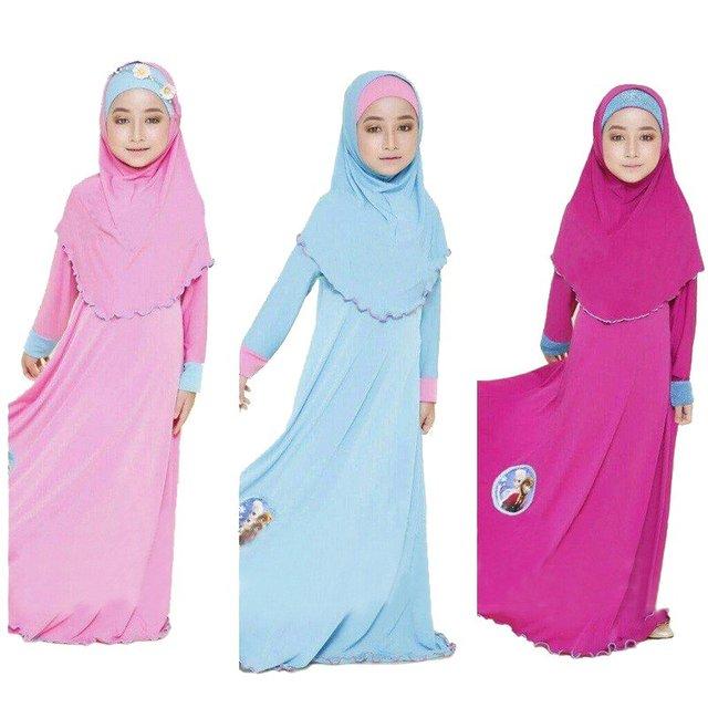 Dos conjuntos de ropa Niños de dibujos animados Niño de la Manera Tradicional vestido jilbab Abaya Musulmán de La Muchacha y Los Niños hijab islámico abaya vestidos