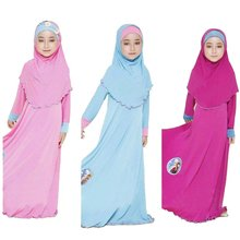 Two sets Traditional cartoon Kids clothing Fashion Child Abaya Muslim Girl dress jilbab and abaya islamic Children hijab dresses