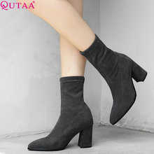 QUTAA 2020 Women Boots Sock Boots Knitting All Match Pointed Toe All Match Platform Slip on Women Mid Calf Boots Size 34-42 cheap Mid-Calf Fits true to size take your normal size Winter Slip-On Solid Square heel Motorcycle boots Rubber Short Plush High (5cm-8cm)