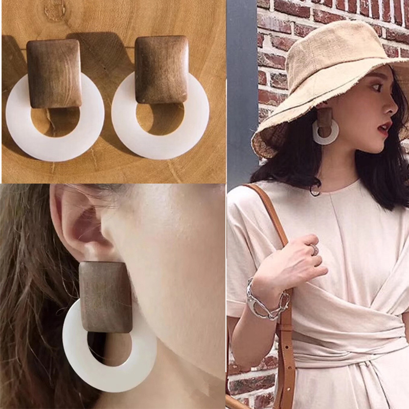 Personality Fashion Big Drop Earrings for Women Acrylic Wooden Resin Clear Round Hollow Antique 2019 Geometric Long Earrings