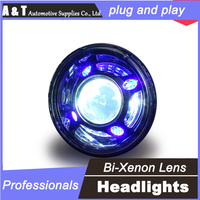 car styling For Jeep Wrangler headlight assembly 2013 For Jeep Wrangler LED lamp bi xenon lens H7 with hid kit 2pcs