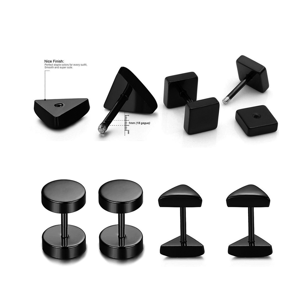 1 Pair Punk Fashion 6mm/8mm Square Stud Earring Gothic Style Fake Tunnel Plug Earlobe Piercings Surgical Steel Cartilage Ear