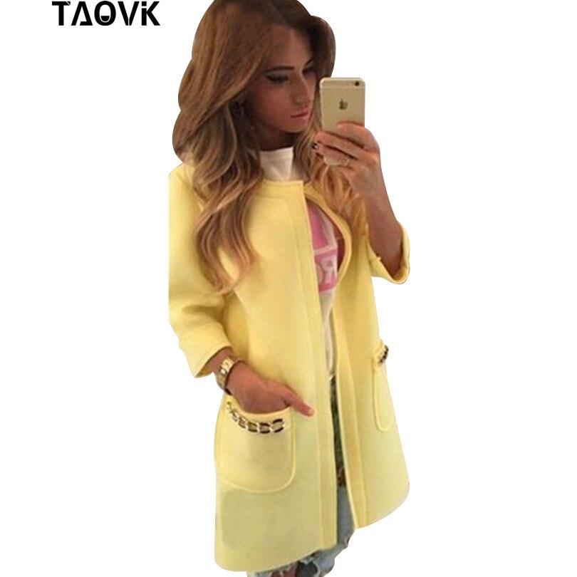 TAOVK women seven-point windbreaker coat women was thin coat pocket with chains