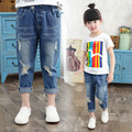 2016 New Style Kids Jeans Boys Girls Trousers Autumn Fashion Designer Children Denim Pants Casual Ripped Jeans For 3~8 Years