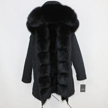 Натуральный мех пальто бренд зимняя куртка женская парка натуральный Лисий Мех уличная толстые теплые расцепная верхняя одежда Длинные парки