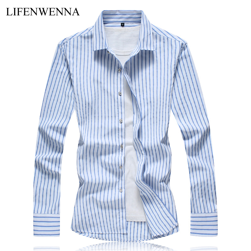 New Autumn Fashion Brand Mens Cotton Shirts 2018 Casual Classic Design Striped Long Slee ...