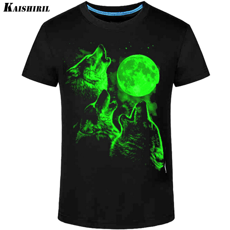 Casual Glowing T Shirt Men 3d Printed Short Sleeve T-shirts Men Wolf Neon Funny T Shirts Glow Cotton Tops Tees Faster Shipping
