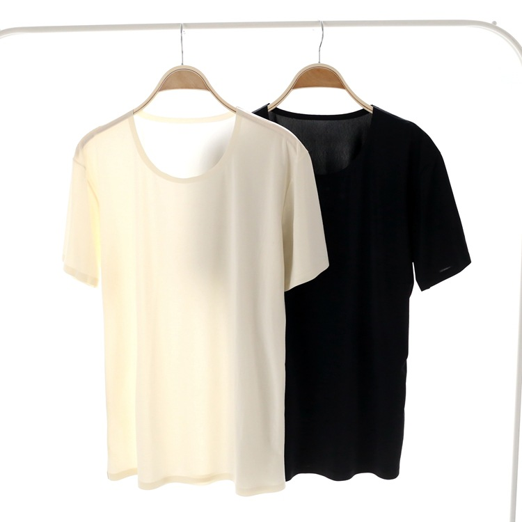 New Brand Sexy Men See Through Ice Silk Seamless T-shirts Seamless No Seaming Tee Thin Light Standard Man T-shirt Cool Pajamas ...