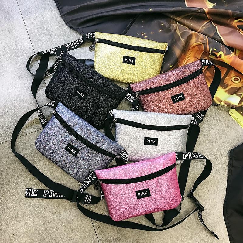 2019 New Pink Fanny Pack Love Girl Waterproof Sequin Heuptas Waist Bag Mini Women Bum Beach Pockets Pouch Belt Phone Bag