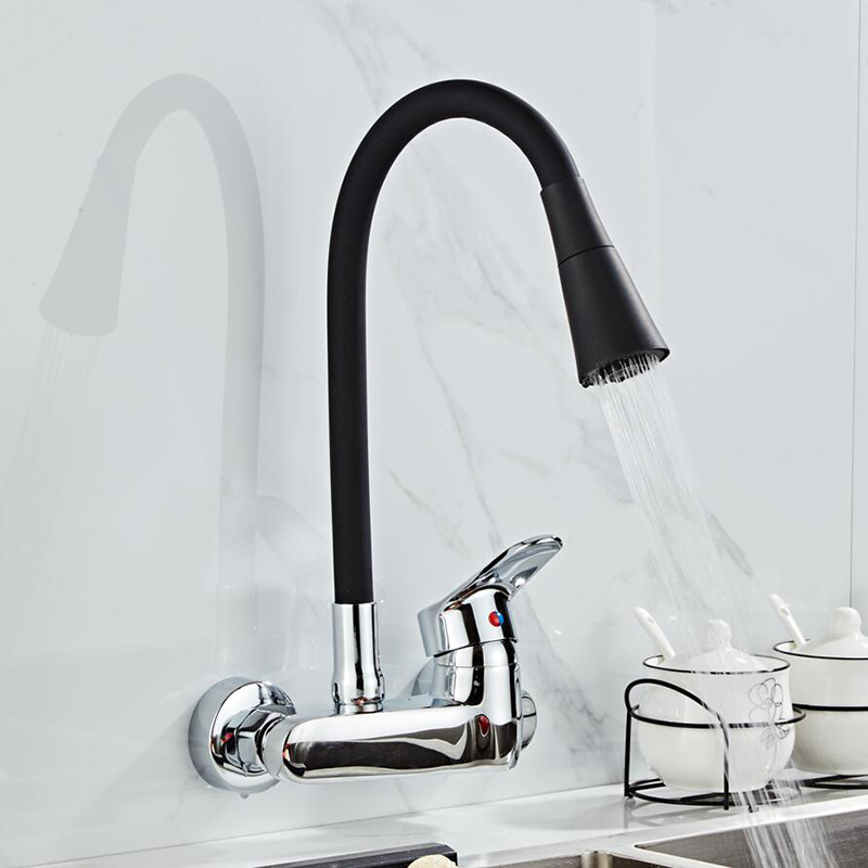 wall mounted kitchen faucet wall kitchen mixers kitchen sink tap 360 degree free swivel flexible hose double holes