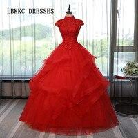 Пышное Красный Пышное Платье с открытой спиной с высокой горловиной Тюль Маскарад сладкий 16 платья Бальные платья Vestidos De 15 Anos