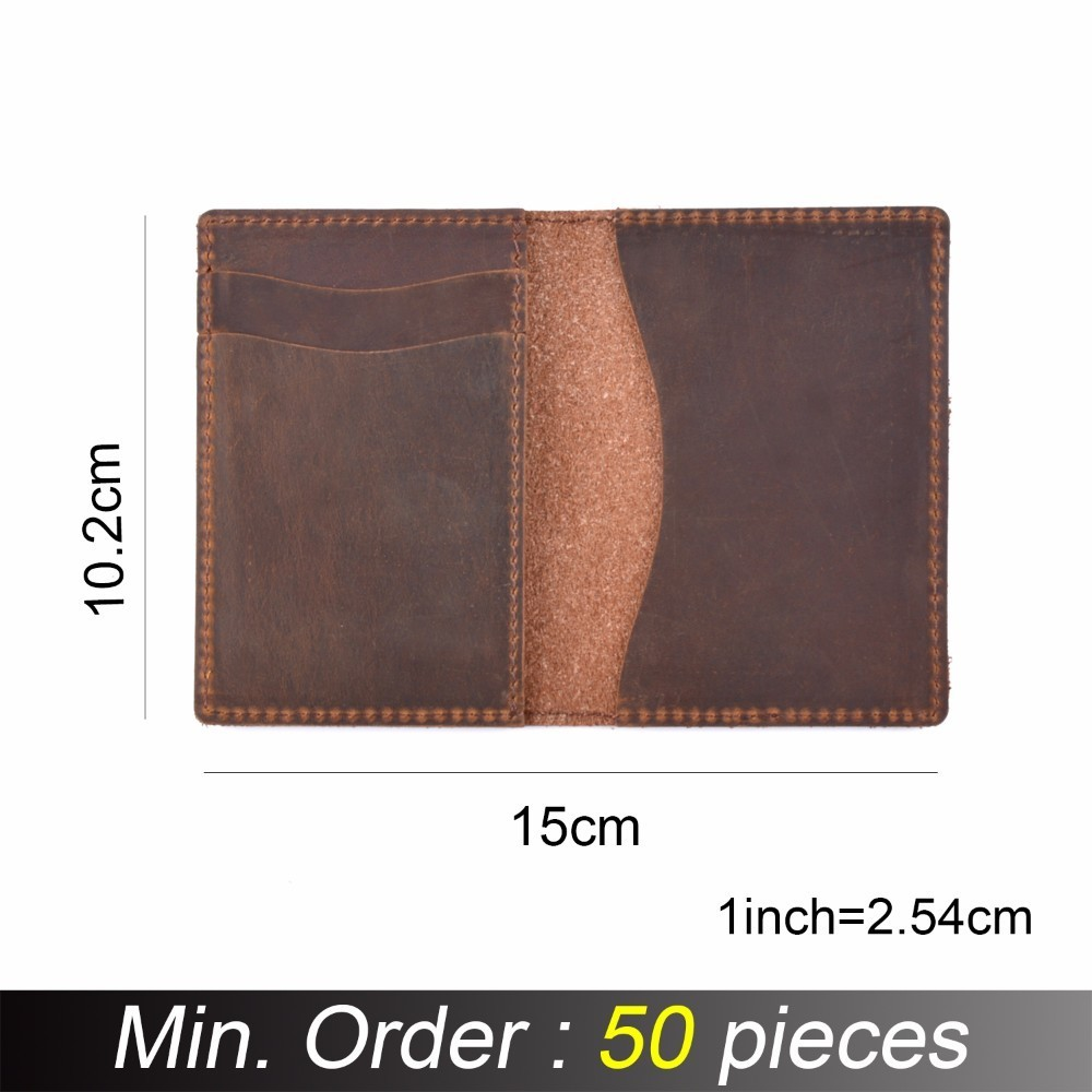 50 Pieces / Lot 10.2x7.5cm Men Credit Card ID Holders Vintage Design Brown Crazy Horse Leather Customized Business Unisex Wallet