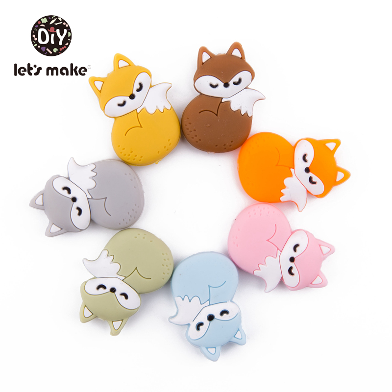 Silicone Beads Of Fox Cute Cartoon Animals Teethers 10pc BPA Free Food Grade Silicone Teether For Newborn Teething Baby Teethers