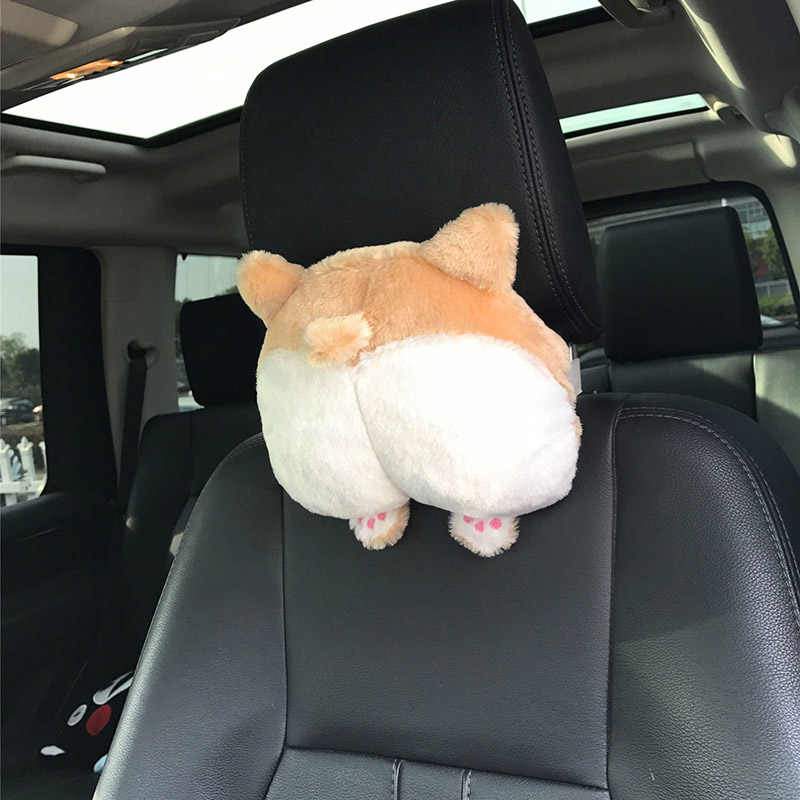 New Universal Car Neck Pillow Headrest Seat Cute Soft Corgi Butt Shape Pillows CSL2018
