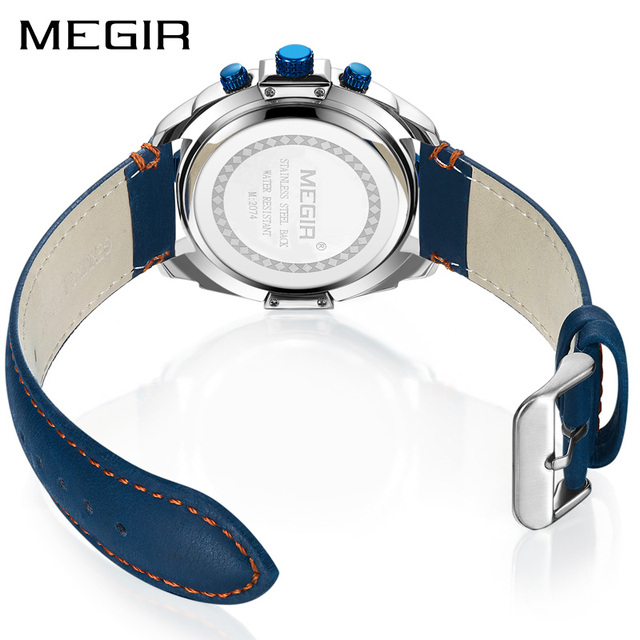 Men Watch Relogio Masculino Blue Leather Business Quartz Watch Clock Men Creative Army Military Wrist Watches