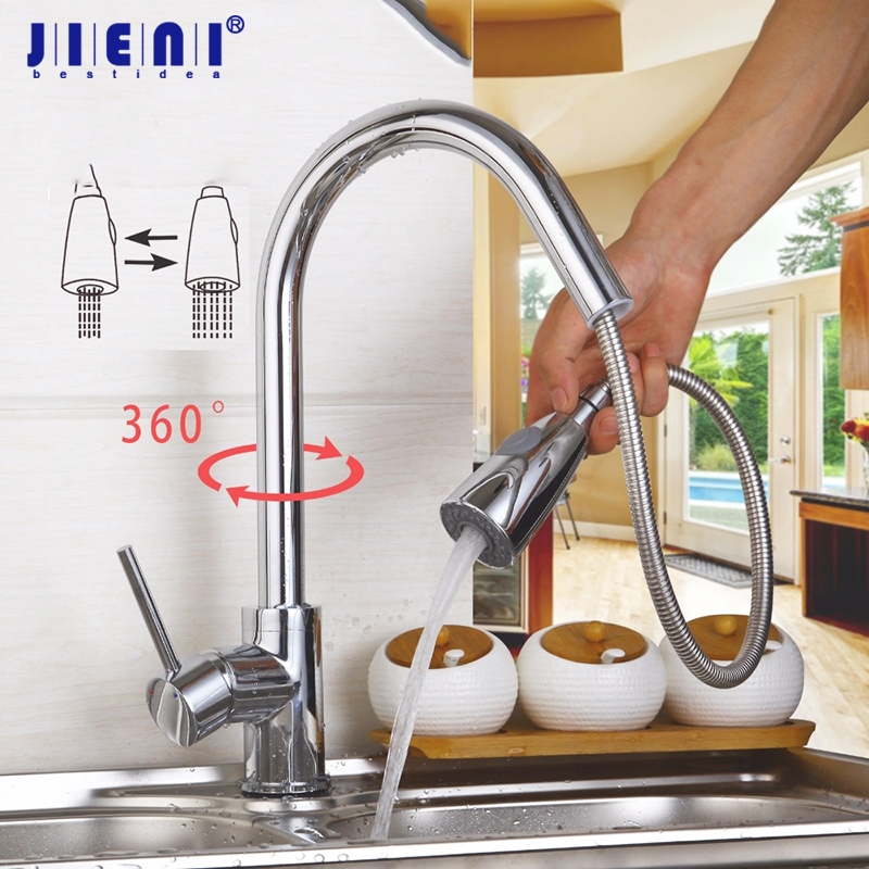 JIENI 360 Swivel Stream Rain Rotated Pull Out Spout Kitchen Sink Faucet Polish Chrome Brass Deck Mount Hot Cold Mixer Tap Faucet solid brass kitchen faucet chrome polish brused nickle pull out swivel spout mixer tap deck mount sink mixer tap pull down spray