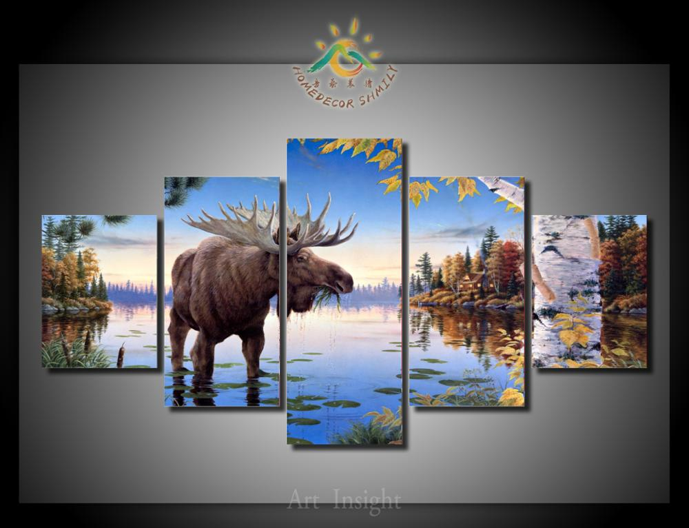 5 piecesset moose painting canvas picture art hd print painting 5 piecesset moose painting canvas picture art hd print painting on canvas for living room solutioingenieria Gallery