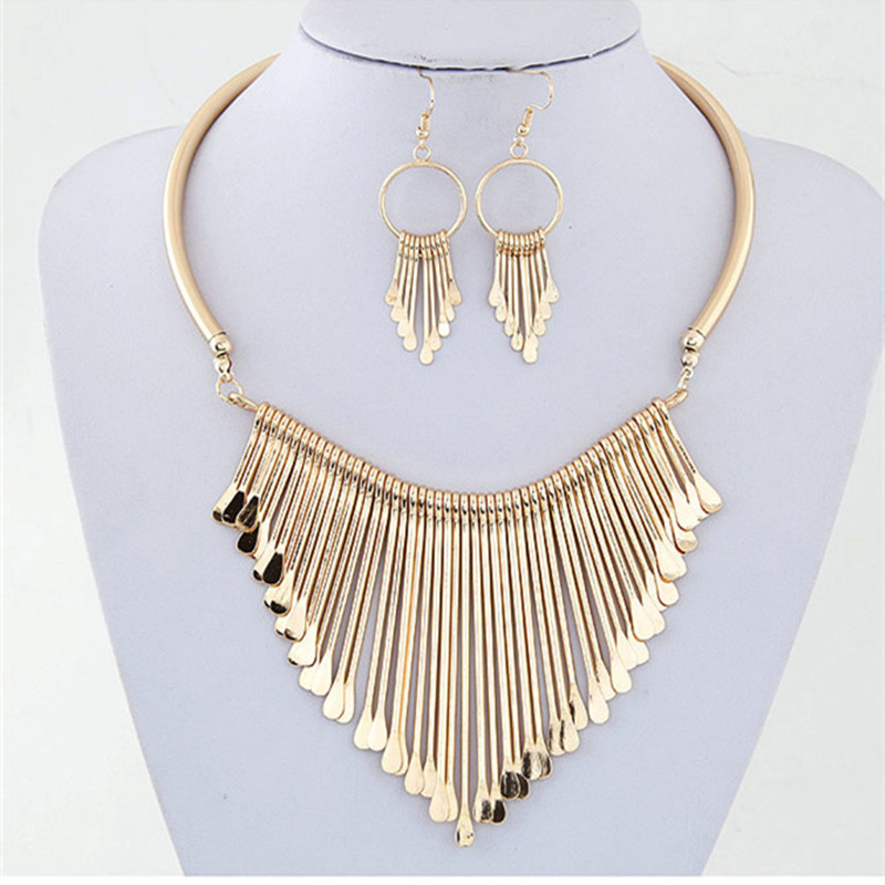 Fashion Europen Bijoux Jewelry Set Trendy Chunky Tassel Necklaces & Pendants Jewelry Sets Women Earing and Necklace Sets