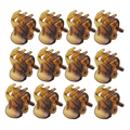 FS Hot New 12 Pcs Lovely Brown Plastic Mini Hairpin 6 Claws Hair Clip Clamp for Ladies