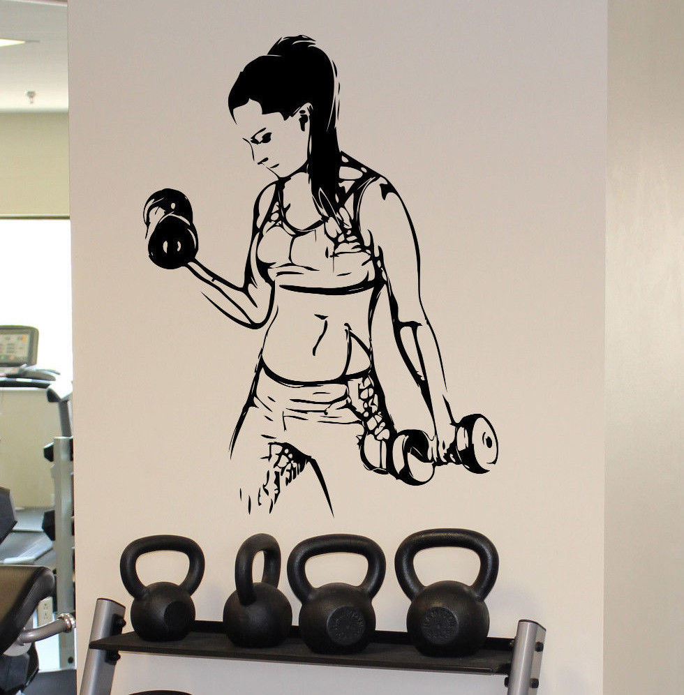 Sticker gym wall - Fitness Gym Wall Decal Vinyl Sticker Female Fitness Sport Home Wall Art Decor China