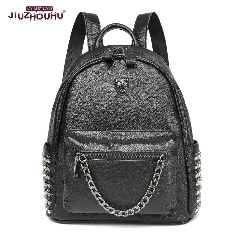 ФОТО Women Backpacks Fashion Charm New Pop Designer rivet genuine leather Backpack Women's Tiger Brand School Bags travel Backpack