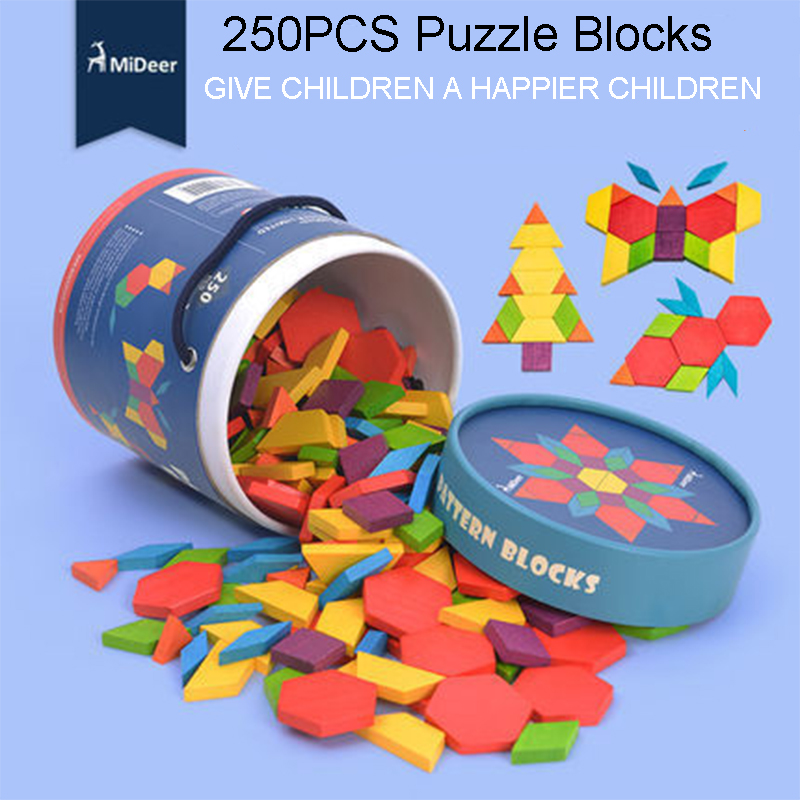 250pcs MiDeer Wooden Montessori Geometry Cognition Color Plane Colorful Flowers Puzzle Educational Toys Games kids mideer 250pcs children colorful beech wooden pattern blocks geometry shape recognition flower blocks classic toy gifts