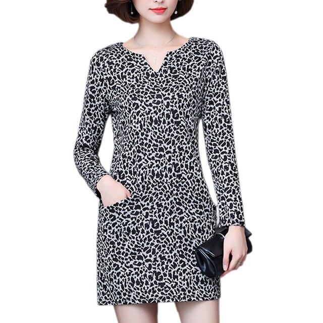 M 5xl Plus Size Leopard Dress Autumn 2017 Long Sleeve V Neck Fashion