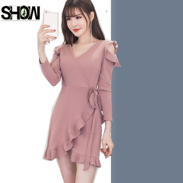 469de7340 Lucu Mini Sexy Dresses Hot Wanita Korea Gaya Desain Panjang lengan Wanita  Kecil Hitam Kuning Pink