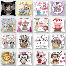 Hot sale cute  girls cartoon pillow cases square Pillow case rabbit covers size 45*45cm