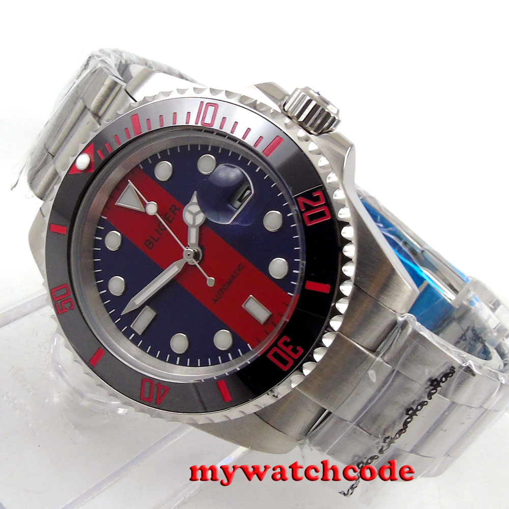 40mm Bliger blue red dial date sapphire crystal automatic unsex womens watch 116 цена и фото