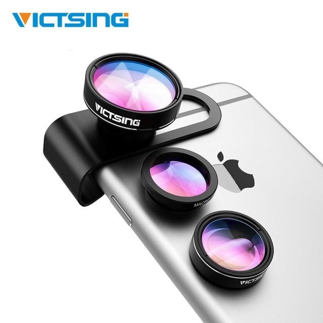 2019 VicTsing 3-in-1 טלפון מצלמה עדשת ערכת אלומיניום קליפ-על 180 תואר Fisheye עדשה + 0.65X רחב זווית + 10X מאקרו עדשה עבור iPhone