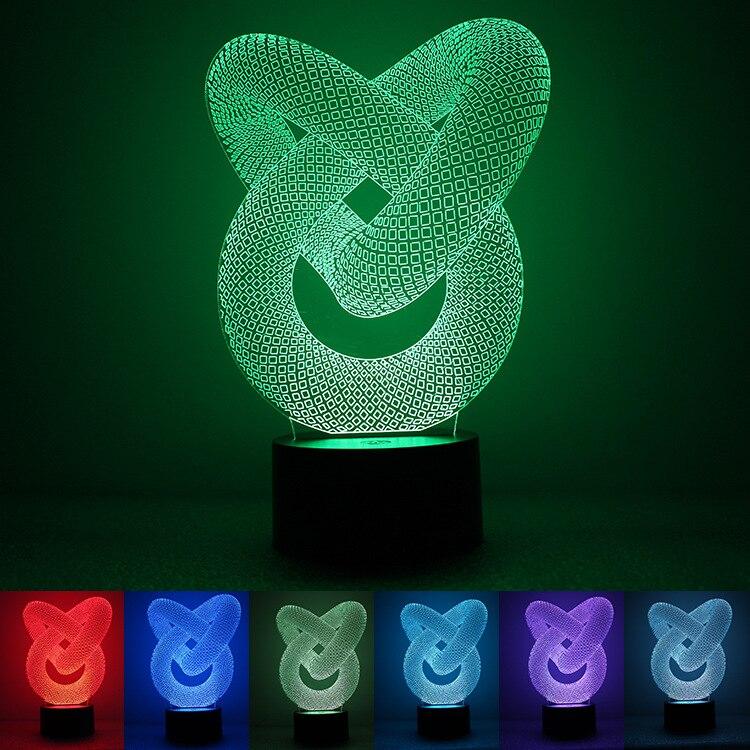 HENYNET 3D Night Light USB Key Visual Creative Dynamic Alternate LED Light Small Desk Lamp