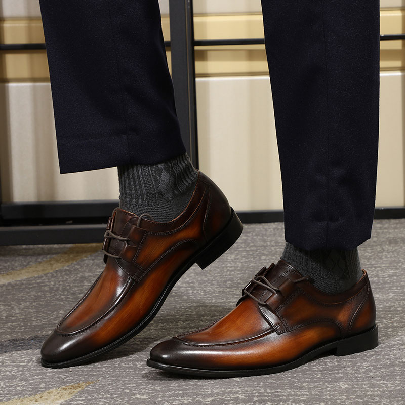 Vriendelijk Felix Chu Mannen Schort Teen Derby Schoen Bruin Groen Echt Leer Lace Up Oxford Heren Dress Schoenen Casual Business Man Schoenen Uitstekend In Kusseneffect