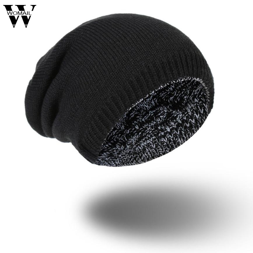 Autumn Women Men Beanie Hat Winter Warm Knitted Hats Reversible Beanies Skull Caps Unisex