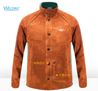 Cow Leather Welding Clothing Leather Welder Aprons Coverall Safety Clothing Split Cow Leather FR Cotton Welding Jackets