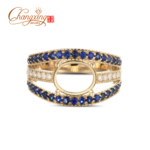 7x9mm Oval Cut 14kt Yellow Gold Pave 0.69ctw Diamond & Sapphire Semi Mount Ring Free Shipping