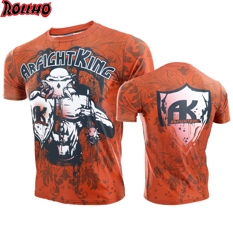 ROLLHO Muay Thai Short Sleeve Shirt Sportswear MMA Kickboxing Running Workout T-Shirt Boxe Jersey