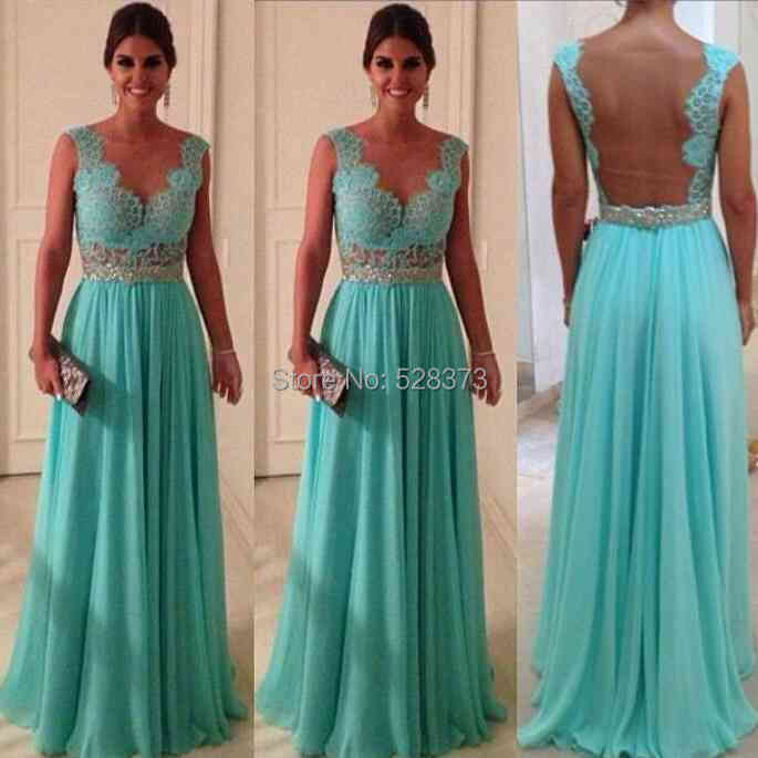 YNQNFS IED30 Sheer Backless Chiffon Elegant Evening Dress Wedding Party Robe Vestido de Festa Longo Turquoise Green