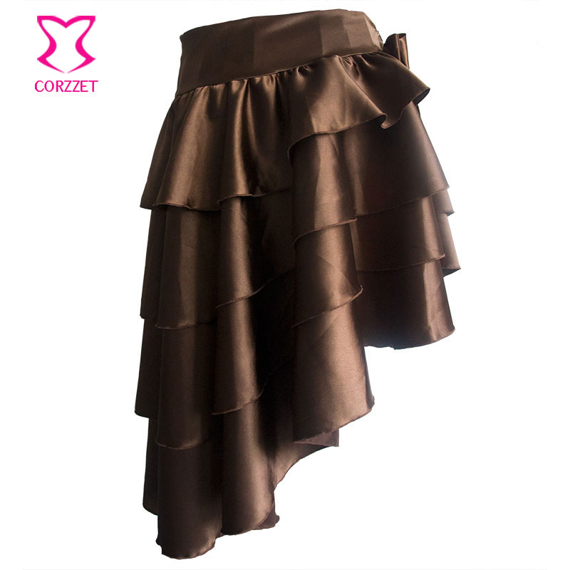 Falda gótica asimétrica con capas de satén negro con volantes - Ropa de mujer - foto 5