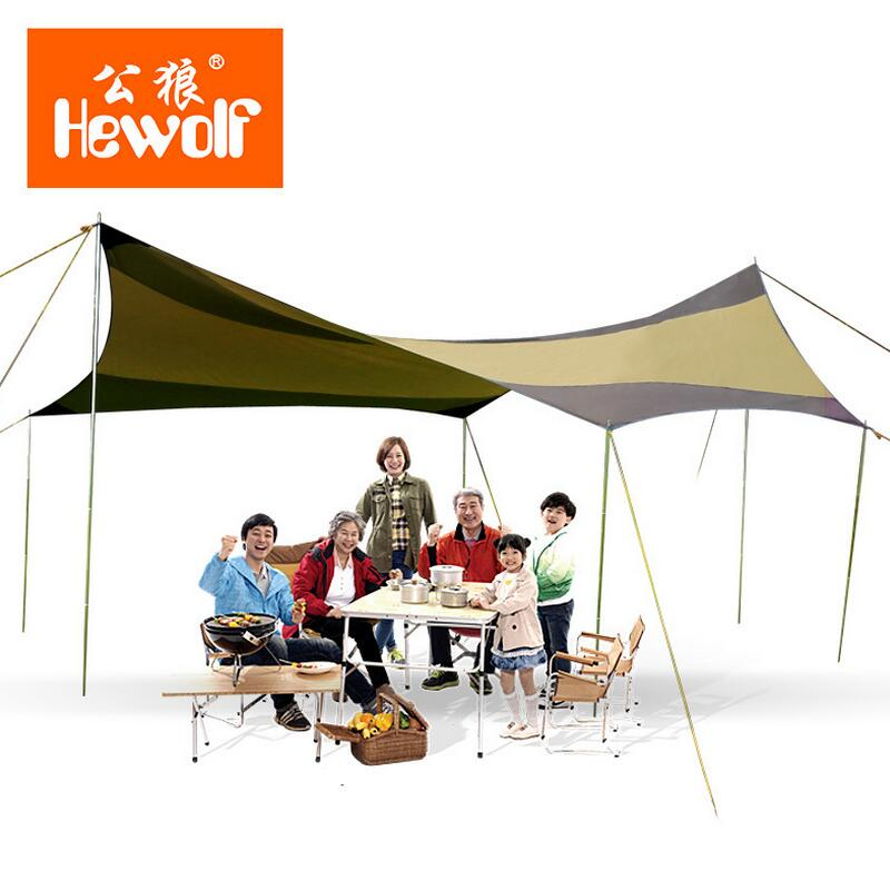 Hewolf sun shade beach awning tent waterproof camping car tent outdoor canopy 6 - 10 Person gazebo party tent shelter tarp 5*5M octagonal outdoor camping tent large space family tent 5 8 persons waterproof awning shelter beach party tent double door tents