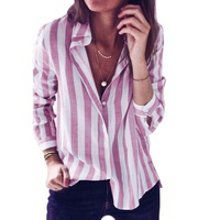 Ladies Turn Down Collar Blouse Shirt Womens Tops Striped Long Sleeve Button Loose Blouses Blouses