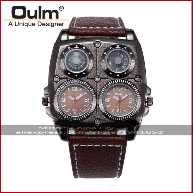 2016 OULM Men's Business Leisure Quartz Wristwatches Leather Strap Oversize Sub