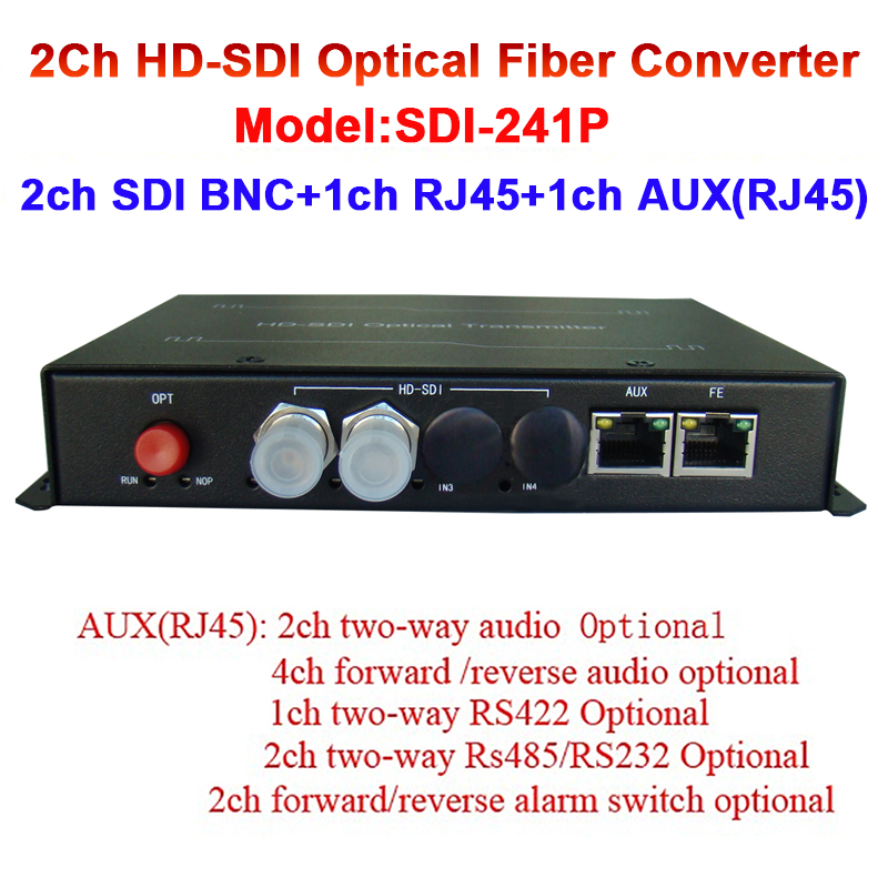 2CH HD-SDI Audio Video Fiber Optic Media Converter With 1ch 10/100 Ethernet 20KM FC / SC Port