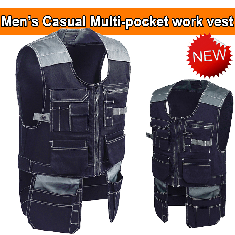 Bauskydd Mens pockets mechanic Work workwear tool vest