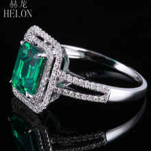 HELON New ! Emerald 5x7mm Cushion Shape Pave Diamond Vintage Engagement Wedding Ring 10K White Gold For Women's Jewelry
