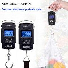 Junejour 50Kg/10g LCD cyfrowa waga do bagażu przenośny podświetlany hak do zawieszania waga elektroniczna waga wędkarska waga skala balansu