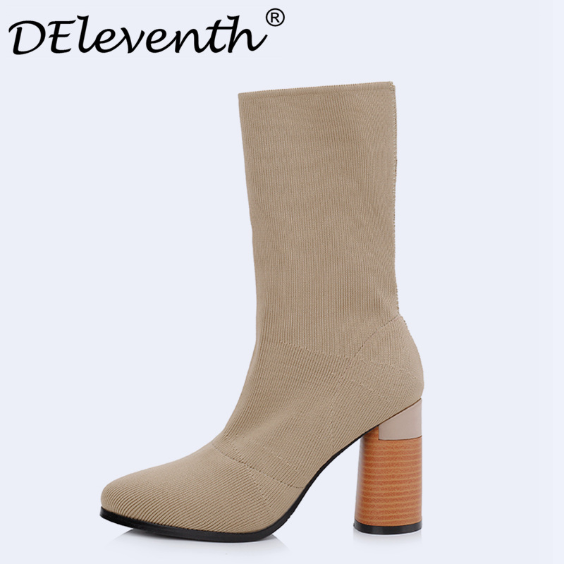 Beauty Vogue Socks Boots Women Shoes Stacked Heel Pointed Toe Square Heel Shoes Woman Mid Calf Boots Ladies Shoes Green Khaki ombre circle calf length socks
