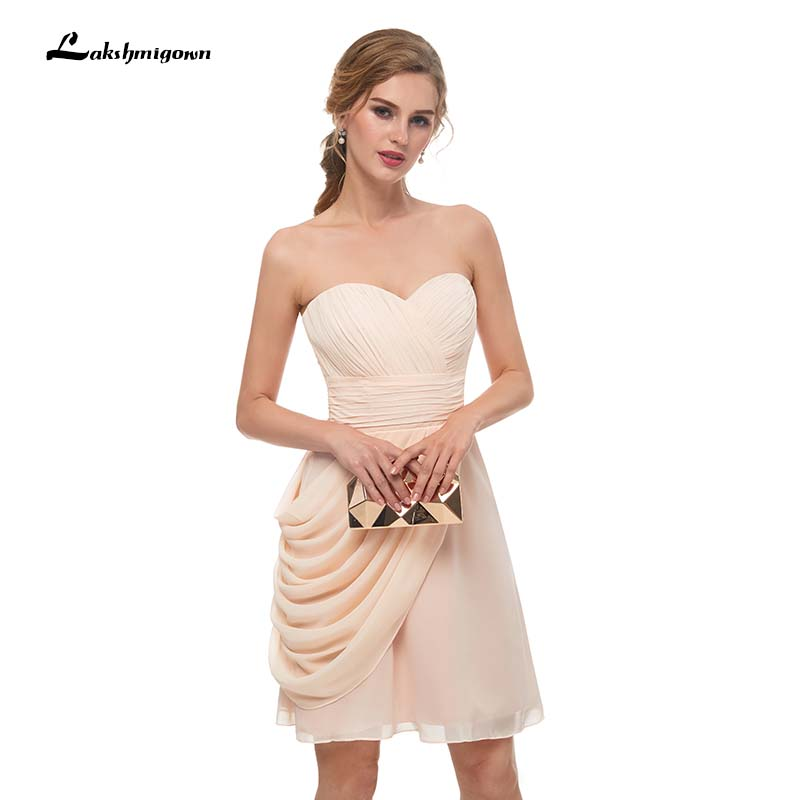 Champagne   Bridesmaid     Dresses   Ruffles Pleats Sweetheart Short Mini A-line Formal Backless   Bridesmaids     Dresses